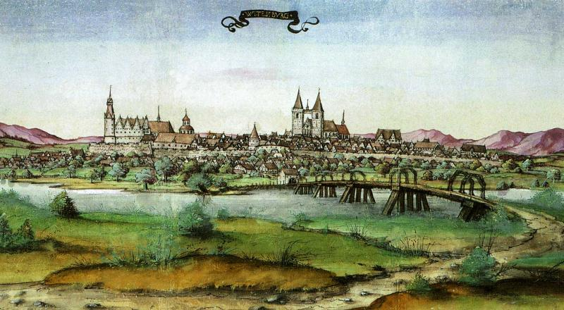 The city of Wittenberg seen from the Elbe. Drawing from the travel album of Count Palatine Ottoheinrich 1536 in the University Library Würzburg