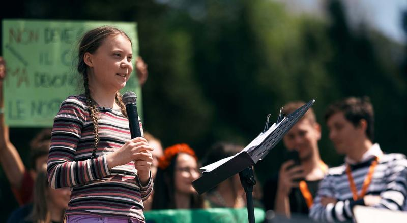 Swedish climate activist Greta Thunberg gives a speech near the Colosseum in Rome, Italy on April 19, 2019.
