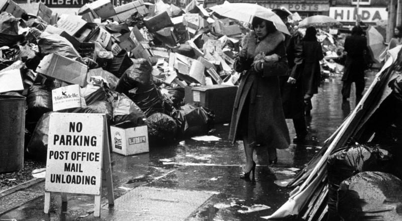 "Garbage piled up on the streets of London during the 1978-1979 ""Winter of Discontent."""