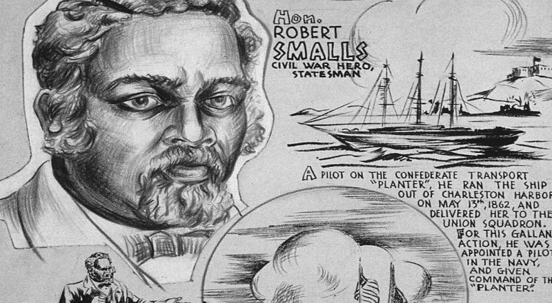 A poster celebrating Robert Smalls, produced by the Office of War Information in the 1940s.