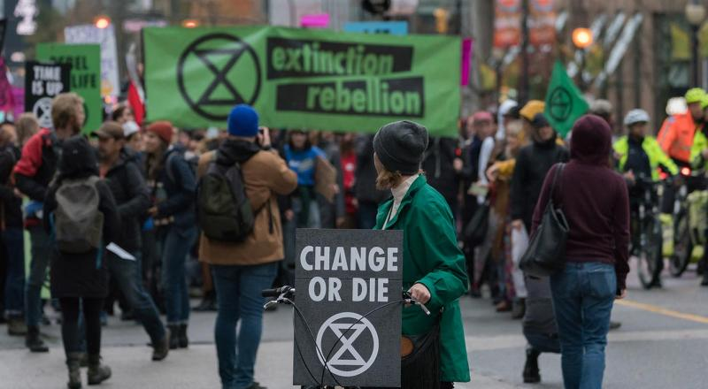 Extinction Rebellion protest march.